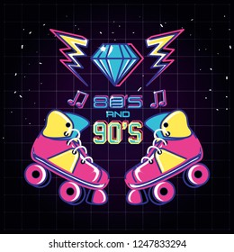 roller skates of eighties and nineties retro