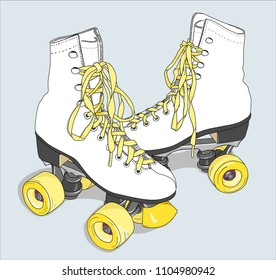 roller skates with laced boots of white color isolated vector illustration