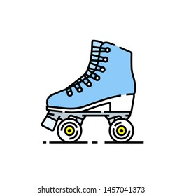 Roller skates line icon. Girls blue skating boots symbol. Vector illustration.