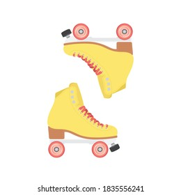 Roller Skates Vector, Roller Blades Set, Retro Skates, Skating Symbol, 90's Nostalgia Vector Illustration Background