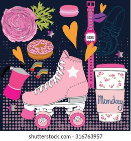 Roller skates,monday, fashion illustration vector