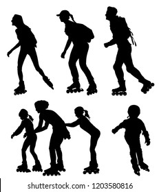 Roller skating couple in love enjoying in park vector silhouette isolated on white background. Skater boy riding wheels with skater girl. Woman and man family rollerblading with backpacks. Healthcare.