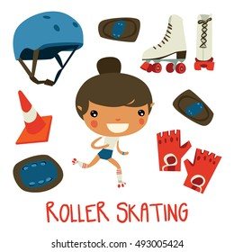 roller skating girl. cute cartoon character and equipment set. protective gloves, helmet and stuff