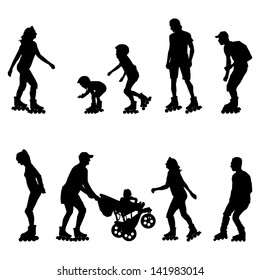 Roller skating, in line skaters vector background set with man, woman, teenager and kids
