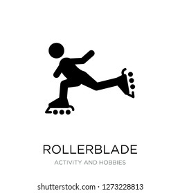 rollerblade icon vector on white background, rollerblade trendy filled icons from Activity and hobbies collection, rollerblade simple element illustration