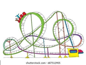 Rollercoaster - cartoon