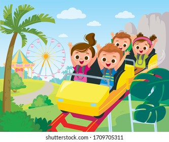 Roller-coaster. Children ride on roller-coaster in amusement park. Children have fun in amusement park. Roller coaster. Exhilarating rides.
