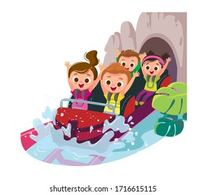 Roller-coaster. Children ride on roller-coaster with water splash in amusement park. Children have fun in amusement park. Exhilarating rides. Joyful kids.