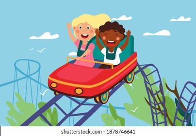 Roller-coaster concept. Happy children riding on roller-coaster in amusement park. Diverse hildren having fun in amusement park. Roller coaster. Exhilarating rides. Flat cartoon vectot illustration