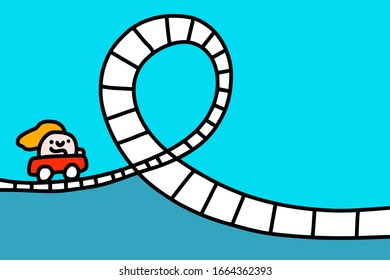 Rollercoaster hand drawn vector illustration in cartoon comic style man making loop prints posters cards