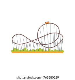 Rollercoaster track with train. Extreme ride attraction. Family amusement park concept. Colorful flat vector design icon for poster, banner or flyer