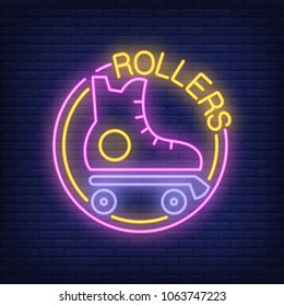 Rollers neon word with roller skate logo. Neon sign, night bright advertisement, colorful signboard, light banner. Vector illustration in neon style.