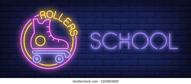 Rollers school neon sign. Vintage roller skate and glowing inscription on brick wall. Vector illustration in neon style for rollerdrome or sport center signboard