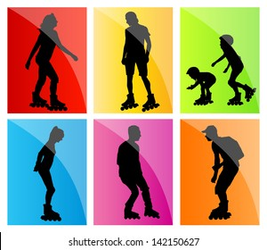 Rollerskating silhouettes vector background set