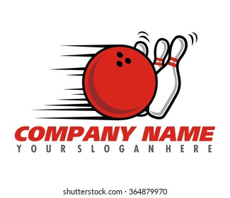 rolling bowling ball and pin image logo