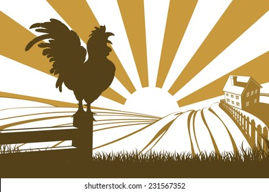 Rolling hills in a farm at sunrise with a farmhouse in the distance and a rooster or cockerel crowing on a fence