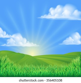 A rolling hills field sun background landscape illustration