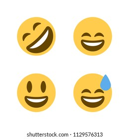 Rolling On The Floor Laughing, Smiling Face with Open Mouth and Smiling Eyes and Cold Sweat. Vector illustration flat laughing emoticons icons, symbols, faces set, group.