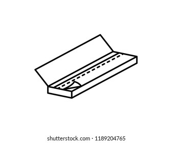 Rolling papers rollies vector black line art symbols on white background for commercial business medical cannabis health services website