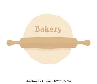 rolling pin with dough like bakery. flat simple modern logotype graphic design isolated on white background. concept of kneading pastry for cookies or cakes and kitchen utensil for home made baking