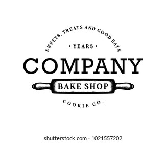 Rolling Pin Home Bakery Cake Bread -  Bake Shop Illustration Hand Drawing Symbol Vintage Logo Vector