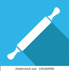 rolling pin vector icon isolated on blue background