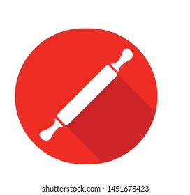 Rolling pin vector icon isolated on red circle background