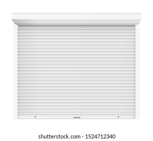 Rolling shutter door. Automatic construction door,  shutter entrance door. Vector rolling shutter illustration on white background