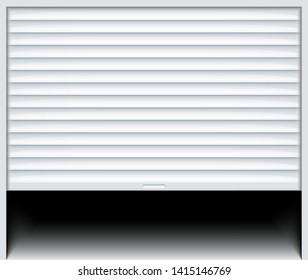 Rolling shutter door. Roller garage metal gate. Electric roll white window background shutter.