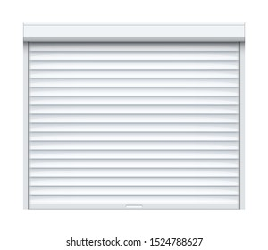 Rolling shutter door. Roller garage metal gate. Electric roll white window background shutter.