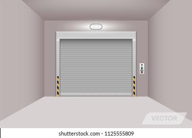 Rolling shutter door in warehouse workshop., Vector, Illustration.