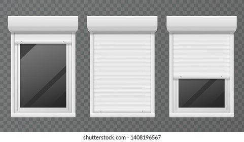 Rolling shutters. Windows roller blind metal frame, white jalousie, facade house safety office close window vector set