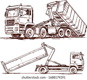 Roll-off truck with container. Dumpster Container and Hook lift truck. Sketch illustration
