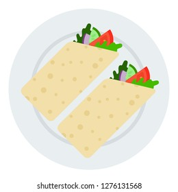 Rolls of vegetarian shawarma with tomatoes, arugula, zucchini, cucumber and onion on plate top view. Vegetables roll in a pita vector flat icon isolated on white