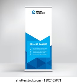 Roll-up, advertising banner template, stand for presentations, exhibitions, promotional products, conferences, seminars, photo placement, text, stylish geometric blue background