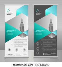 ROLLUP BANNER BUSINESS VECTOR TEMPLATE WITH A VECTOR CITY WALLPAPER ( NEON BLUE METALIC TEXTURE )