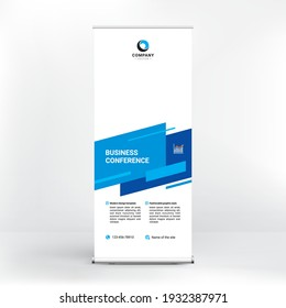 Roll-up banner design, creative geometric background for photo and text, modern style