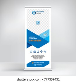 Roll-up banner design, layout of the booth for conferences, presentations, promotions and events, modern abstract graphic style