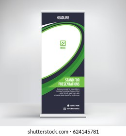 Roll-up banner, stand vector.Graphic template for posting photos and text decoration of exhibitions, conferences, seminars, advertising, business concept.