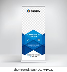 Roll-up banner template, advertising stand design. Layout for seminars, presentations, conferences, promotions, placement of photos and text, creative blue geometric background