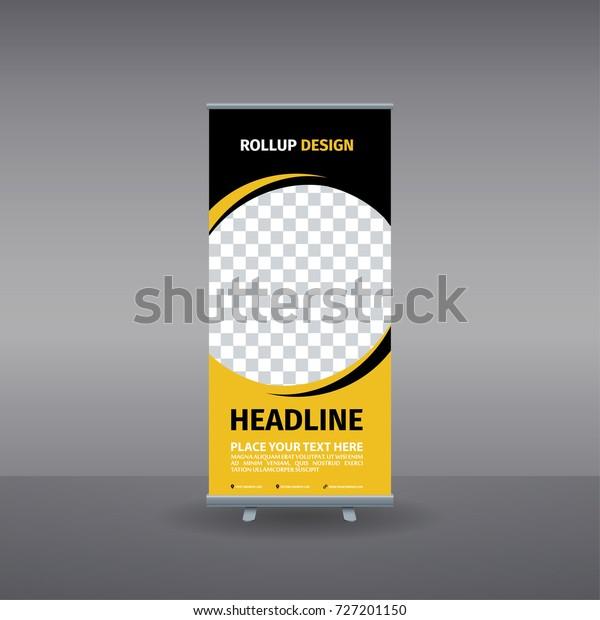 Rollup Banner Template Vector Design Yellow Stock Vector