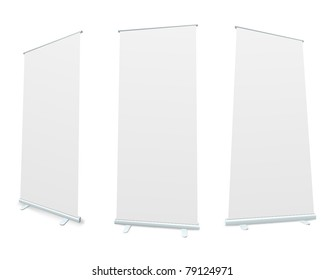 Roll-up blank white display realistic vector illustration.