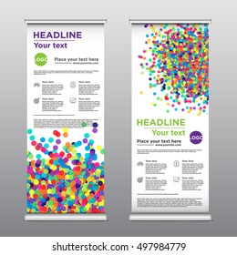 Rollup business brochure flyer banner design vertical template vector, cover presentation abstract geometric background, modern publication x-banner and flag-banner, layout in rectangle size.