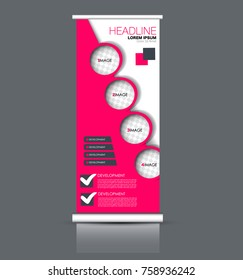 Rollup vertical banner stand template. Abstract background concept for business, education, presentation, advertisement. Editable vector illustration. Pink color.