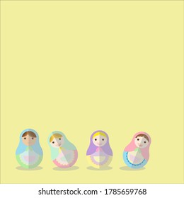 Roly Poly Doll pastel colour on yellow background