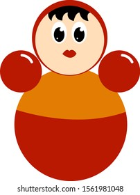 Roly poly toy, illustration, vector on white background.