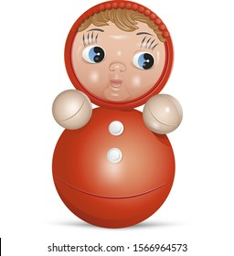 Roly-poly tilting doll toy realistic colored vector illustration