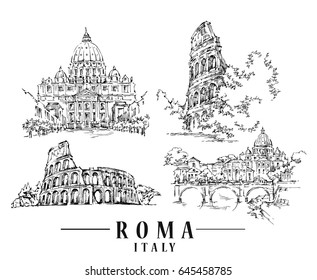 Roma sketch. Hand drawn isolated vector illustration.