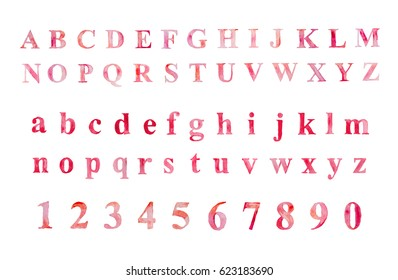 Roman alphabet / numeral  set drawn watercolor artistic font. Red pink vector
