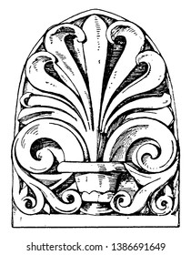 Roman Antefix found in the temple, imbrices, Italy, jupiter, stator, vintage line drawing or engraving illustration.